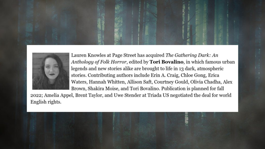 (Pictured: An anthology announcement for THE GATHERING DARK).